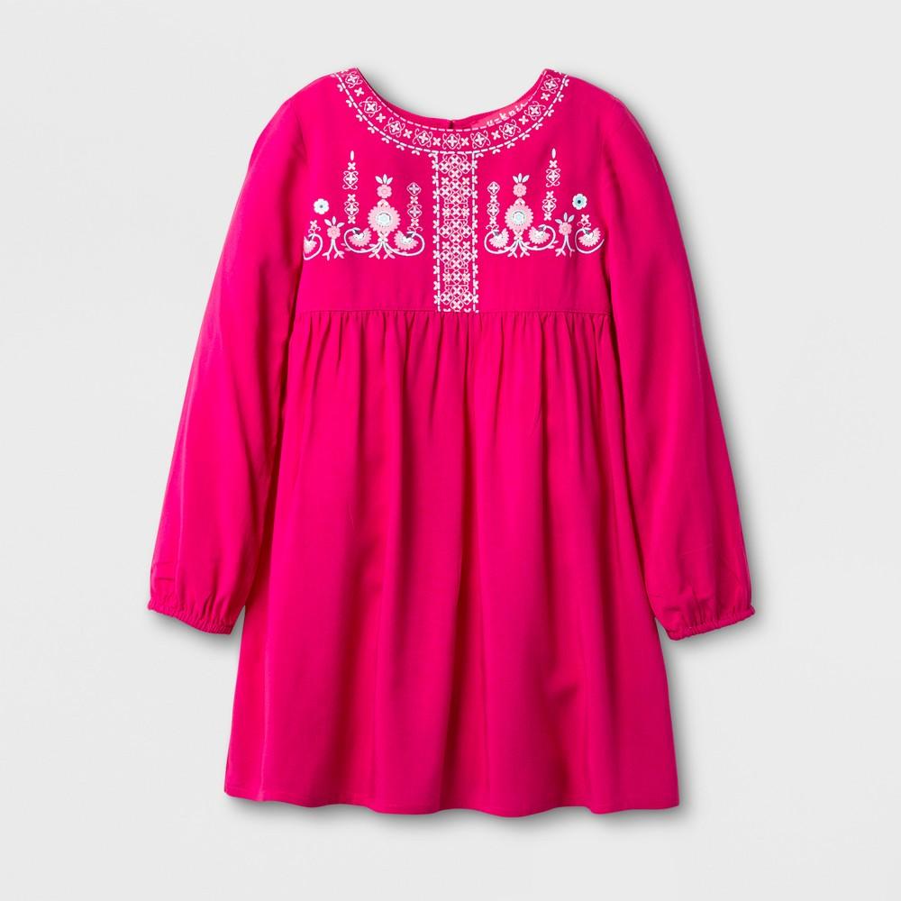 U-Knit Toddler Girls Long Sleeve Woven A Line Dress - Pink 5T