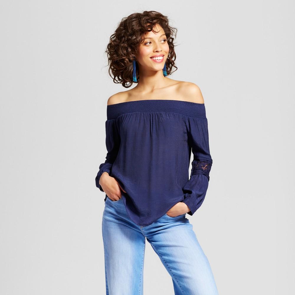 Womens Off the Shoulder Crochet Detail Bell Sleeve Top - Blu Pepper (Juniors) Navy L, Blue