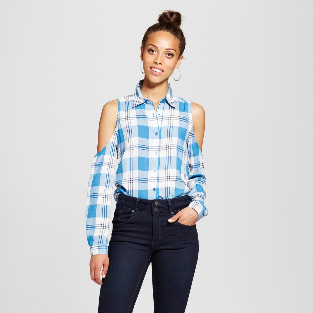 Womens Plaid Cold Shoulder Button Up Shirt - Blu Pepper (Juniors) Blue M