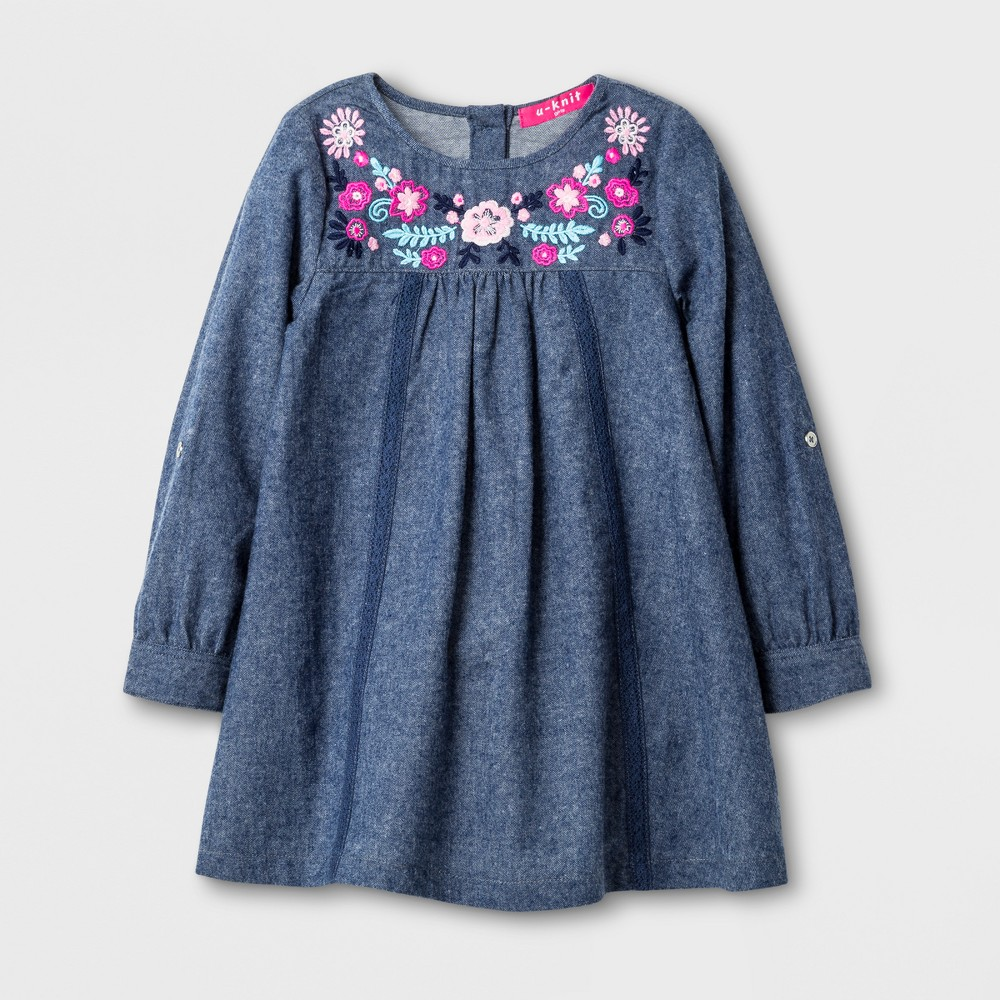 U-Knit Toddler Girls Long Sleeve Chambray A Line Dress - Blue 2T