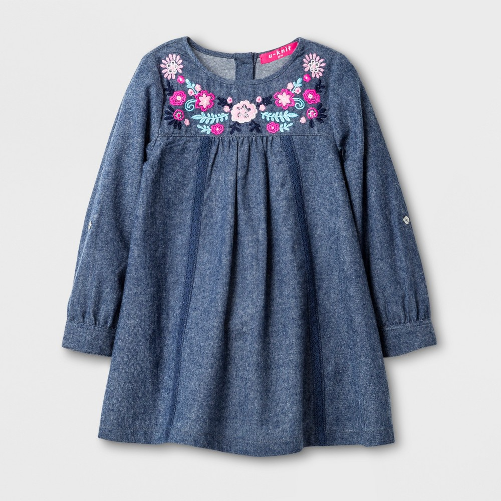 U-Knit Toddler Girls Long Sleeve Chambray A Line Dress - Blue 3T