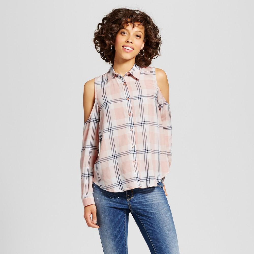 Womens Plaid Cold Shoulder Button Up Shirt - Blu Pepper (Juniors) Peach (Pink) L