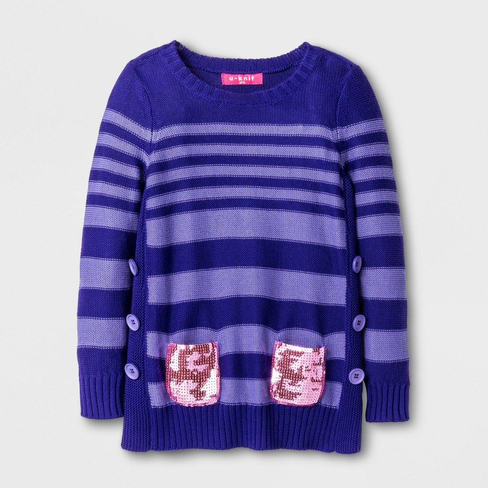 U-Knit Toddler Girls Long Sleeve Heart Tunic Sweater - Purple 2T