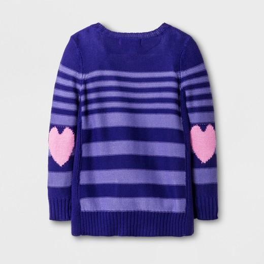U-Knit Toddler Girls' Long Sleeve Heart Tunic Sweater - Purple ...
