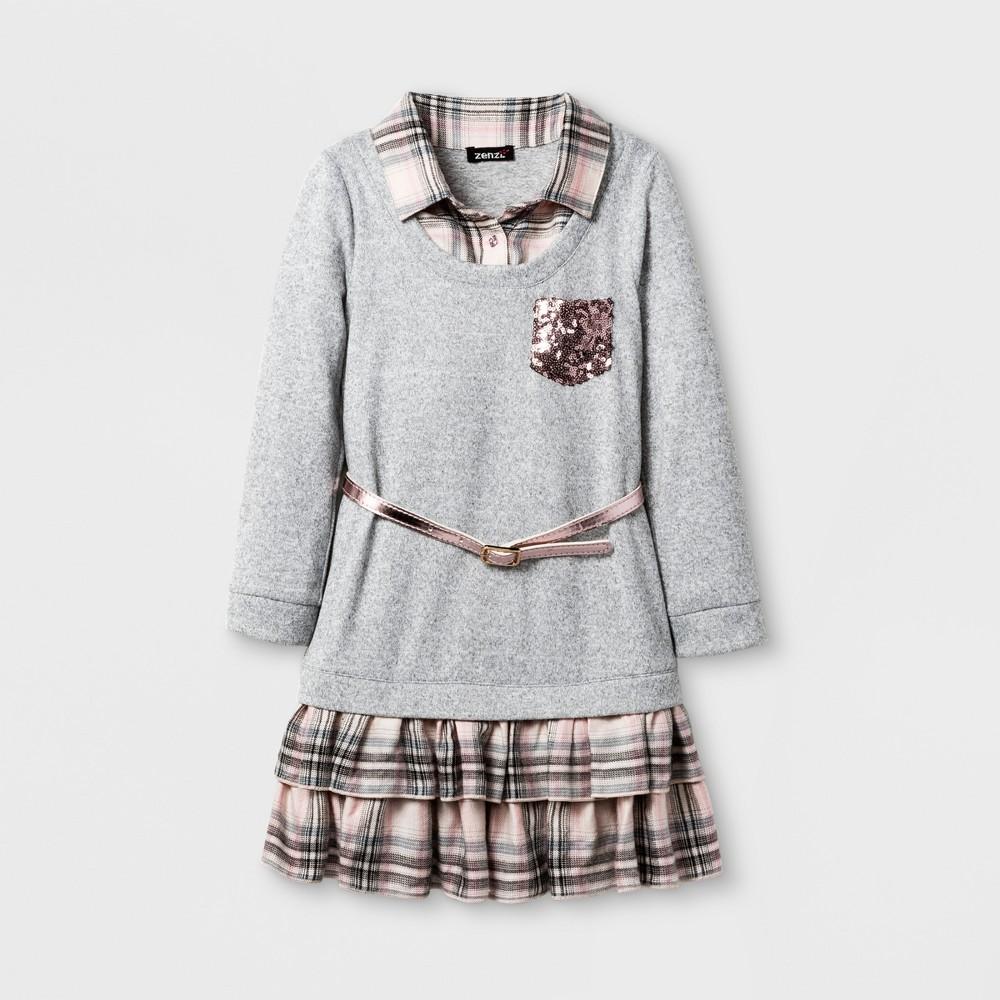Zenzi Girls Roll Sleeve Drop Waist Plaid Ruffle Hem/Collar A Line Dress With Sequin Pockets - Heather Gray 4