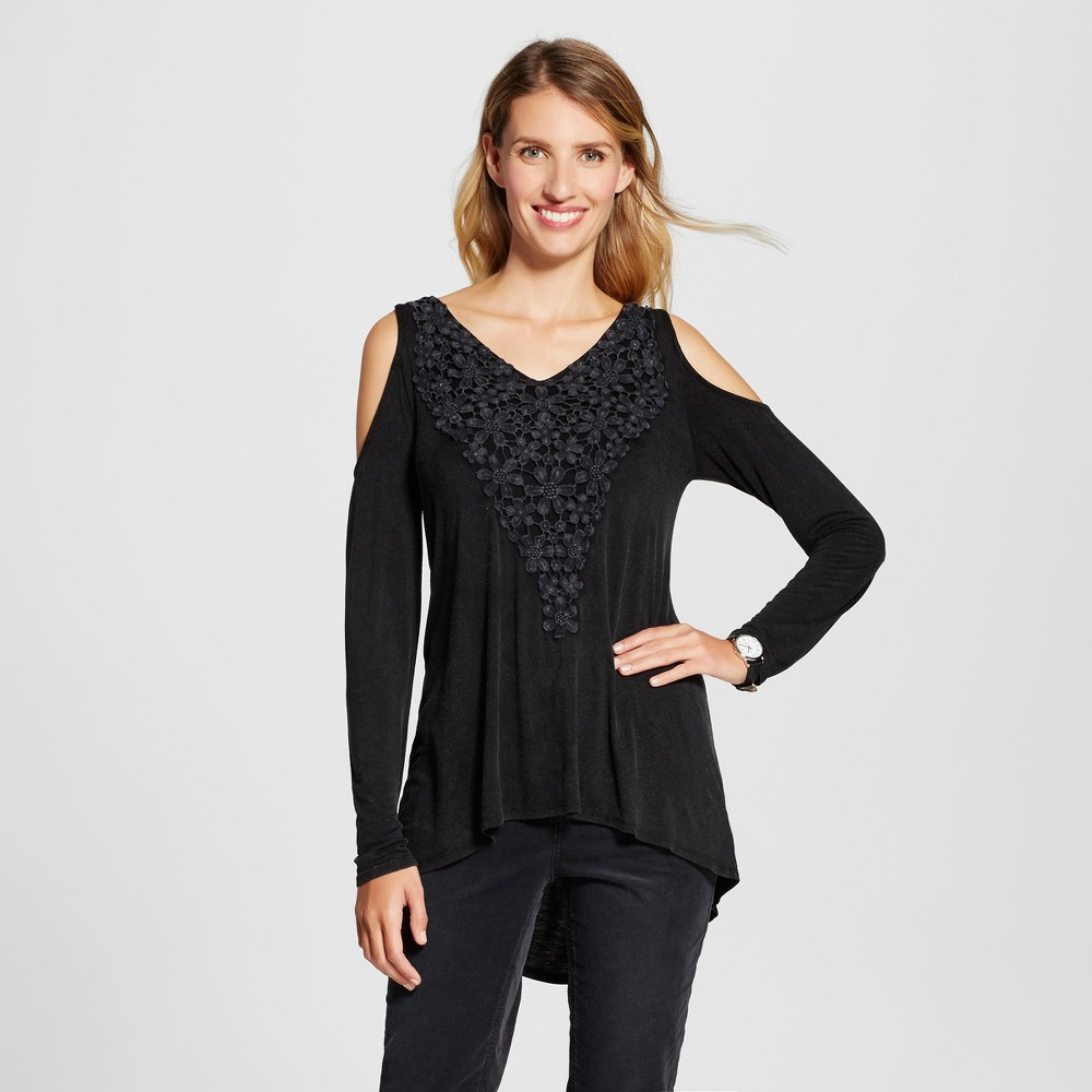 Womens Mineral Wash Cold Shoulder Crochet Top - Knox Rose Black XS
