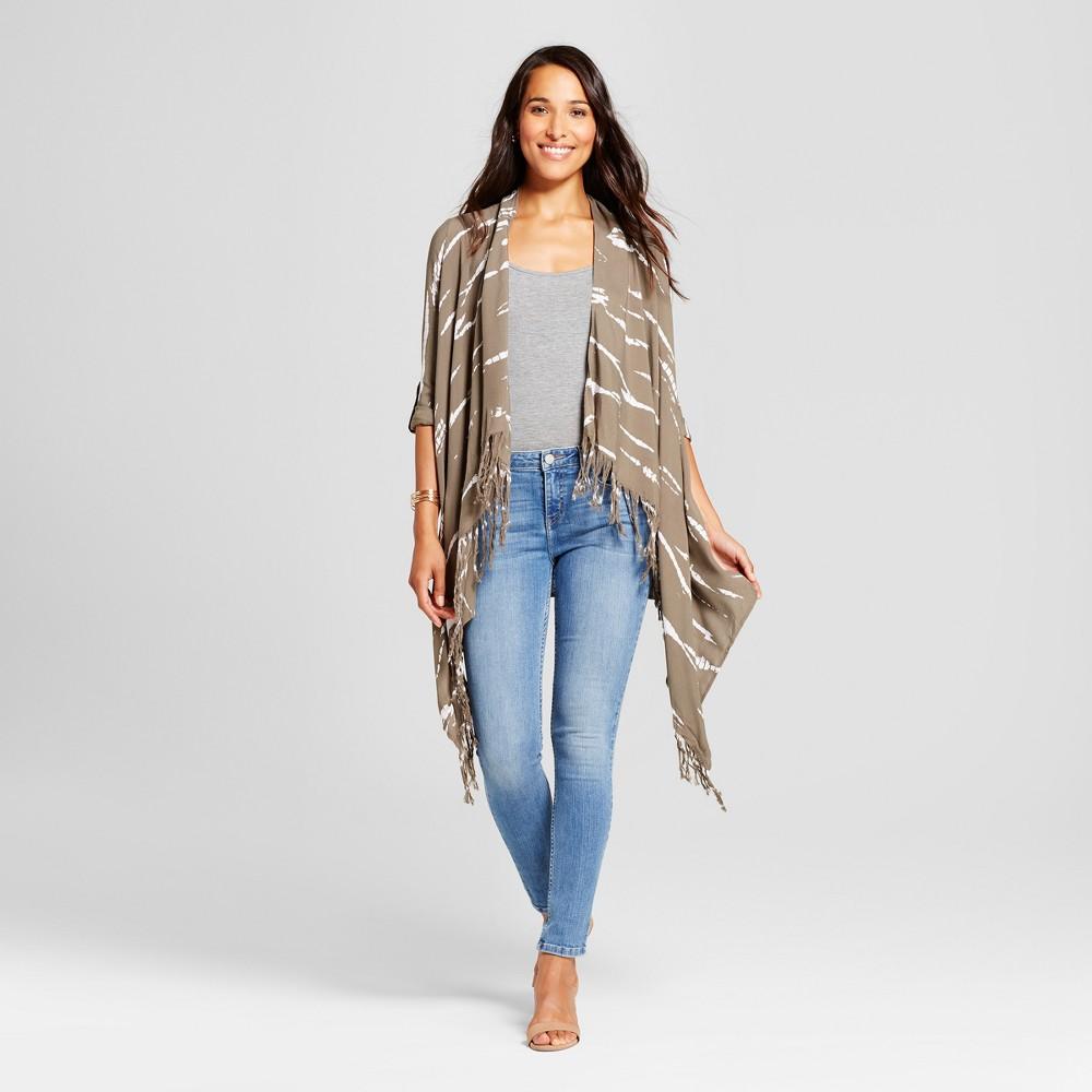 Womens Tie Dye Fringe Open Jacket - Knox Rose Olive L, Green