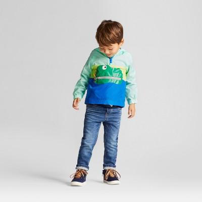 Toddler Boys' Packable Dinosaur Windbreaker Jacket - Cat & Jack™ Blue 12M