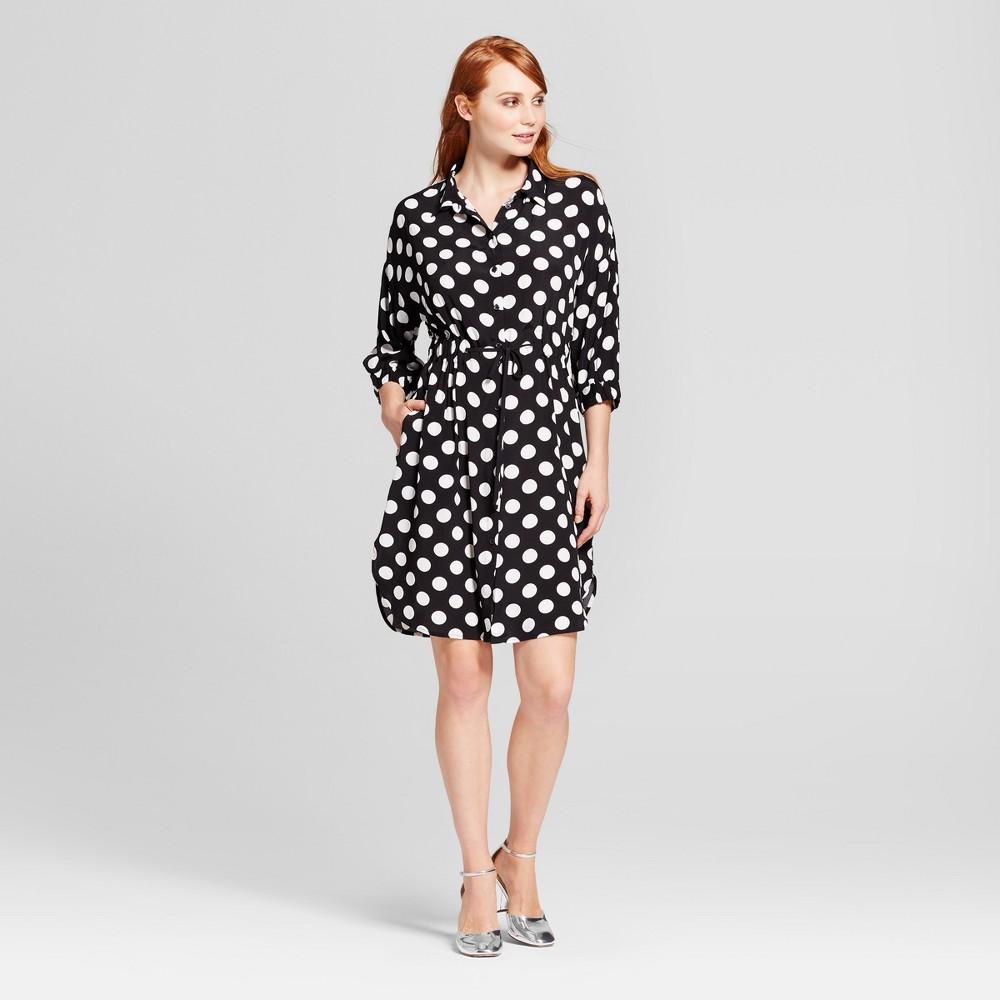 Womens Tie Waist Shirt Dress - Who What Wear Black Polka Dot XS