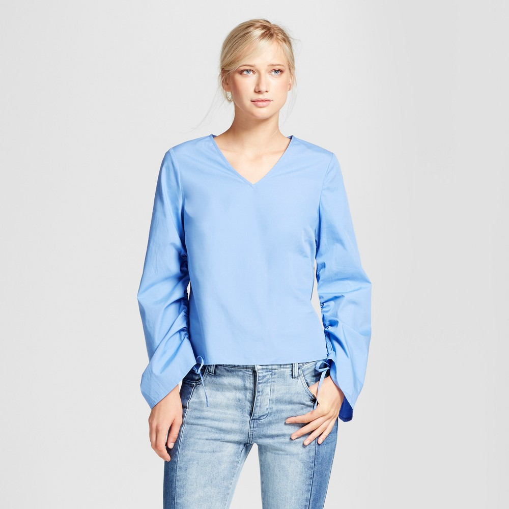 Womens Drawstring Sleeve Top - Who What Wear Blue L