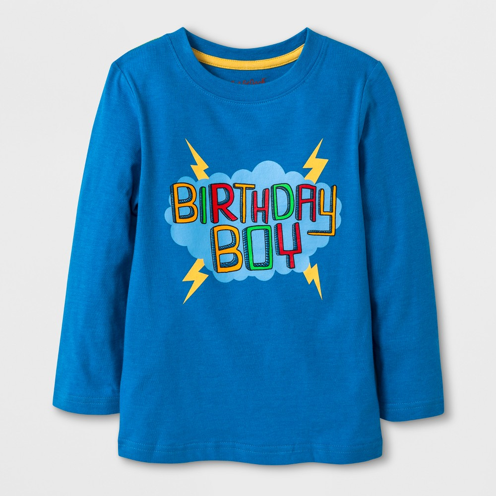 Toddler Boys Long Sleeve Birthday Boy Graphic T-Shirt with Pocket - Cat & Jack Bright Blue 18M, Size: 18 M