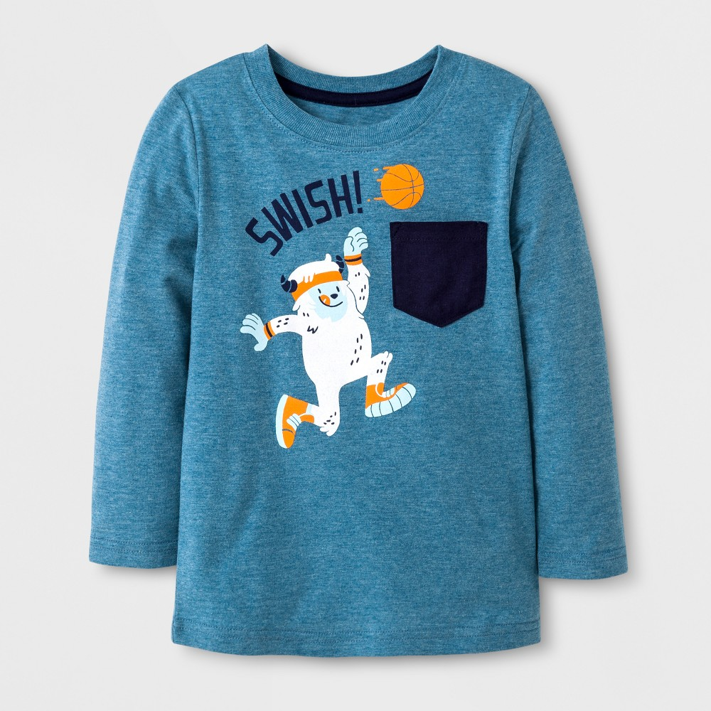 Toddler Boys Long Sleeve Graphic T-Shirt with Pocket - Cat & Jack Turquoise 5T, Blue
