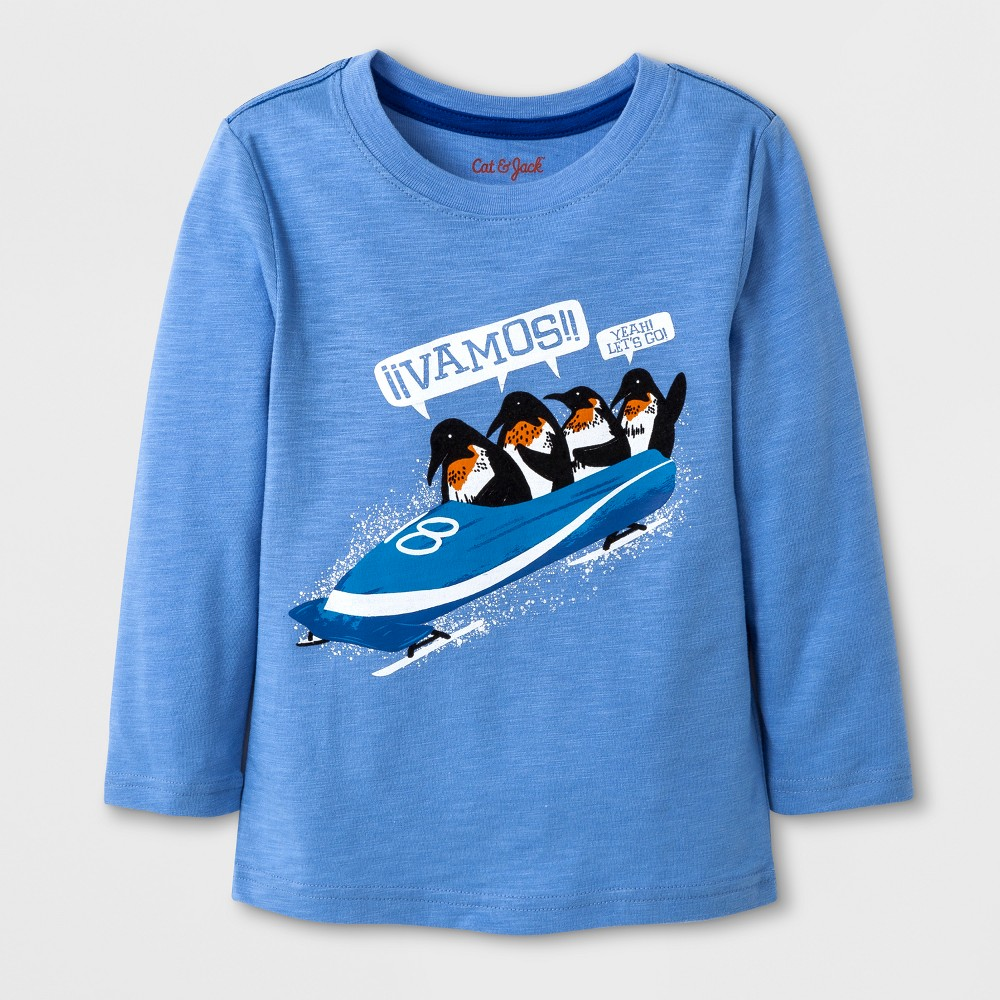 Toddler Boys Long Sleeve Vamos! Graphic T-Shirt with Pocket - Cat & Jack Horizon Blue 5T