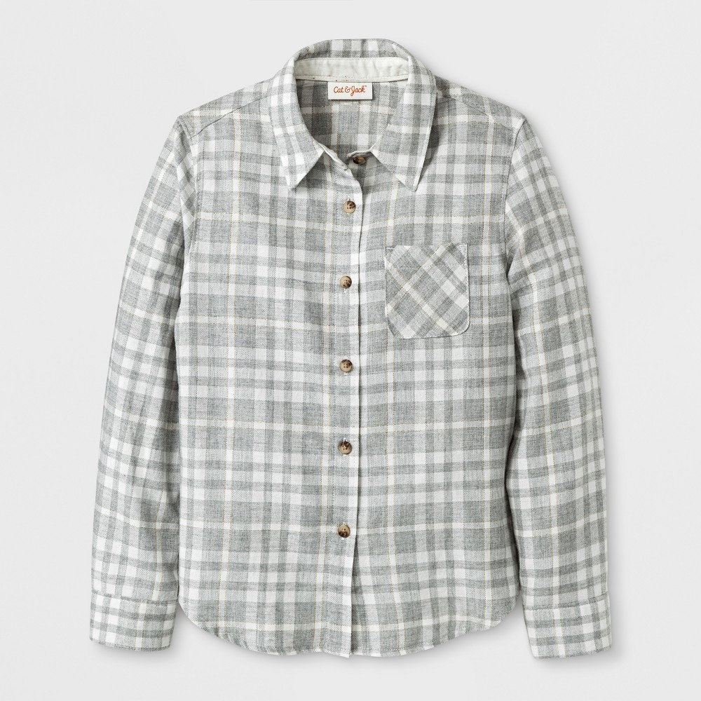 Plus Size Girls Casual Woven Button Down Shirt - Cat & Jack Cream Xxl Plus, White