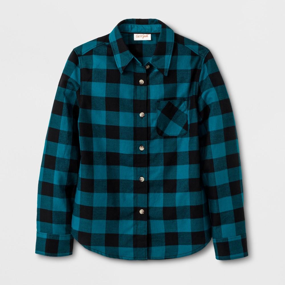 Girls Casual Woven Button Down Shirt - Cat & Jack Teal Xxl, Blue