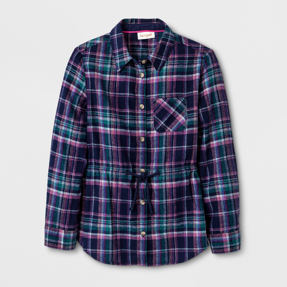 Girls Casual Woven Button Down Shirt - Cat & Jack Blue L
