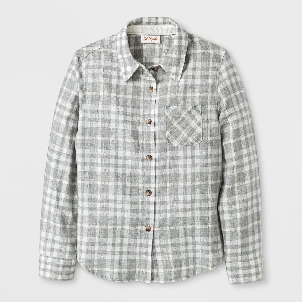 Girls Casual Woven Button Down Shirt - Cat & Jack Cream Xxl, White