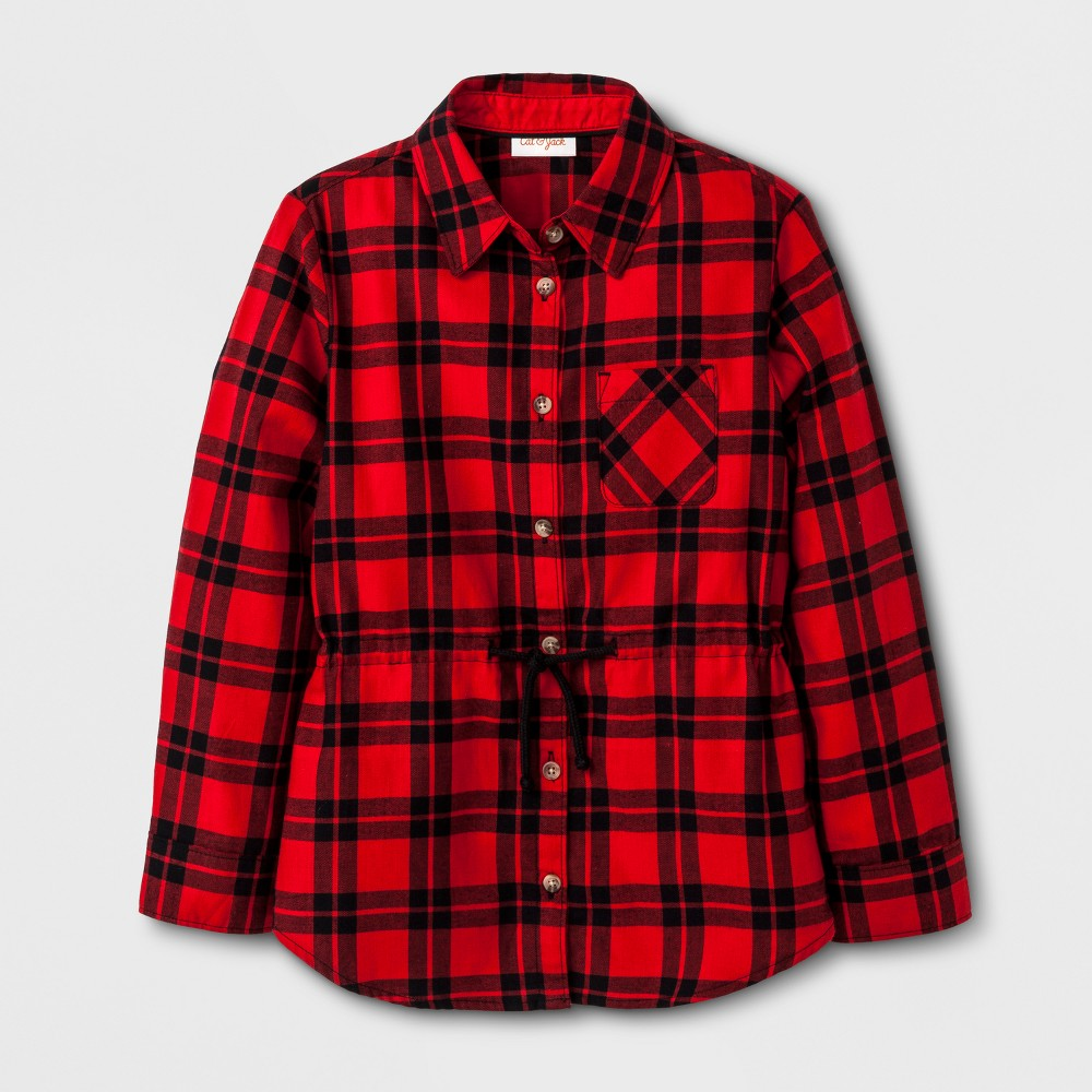 Plus Size Girls Casual Woven Button Down Shirt - Cat & Jack Red XL Plus