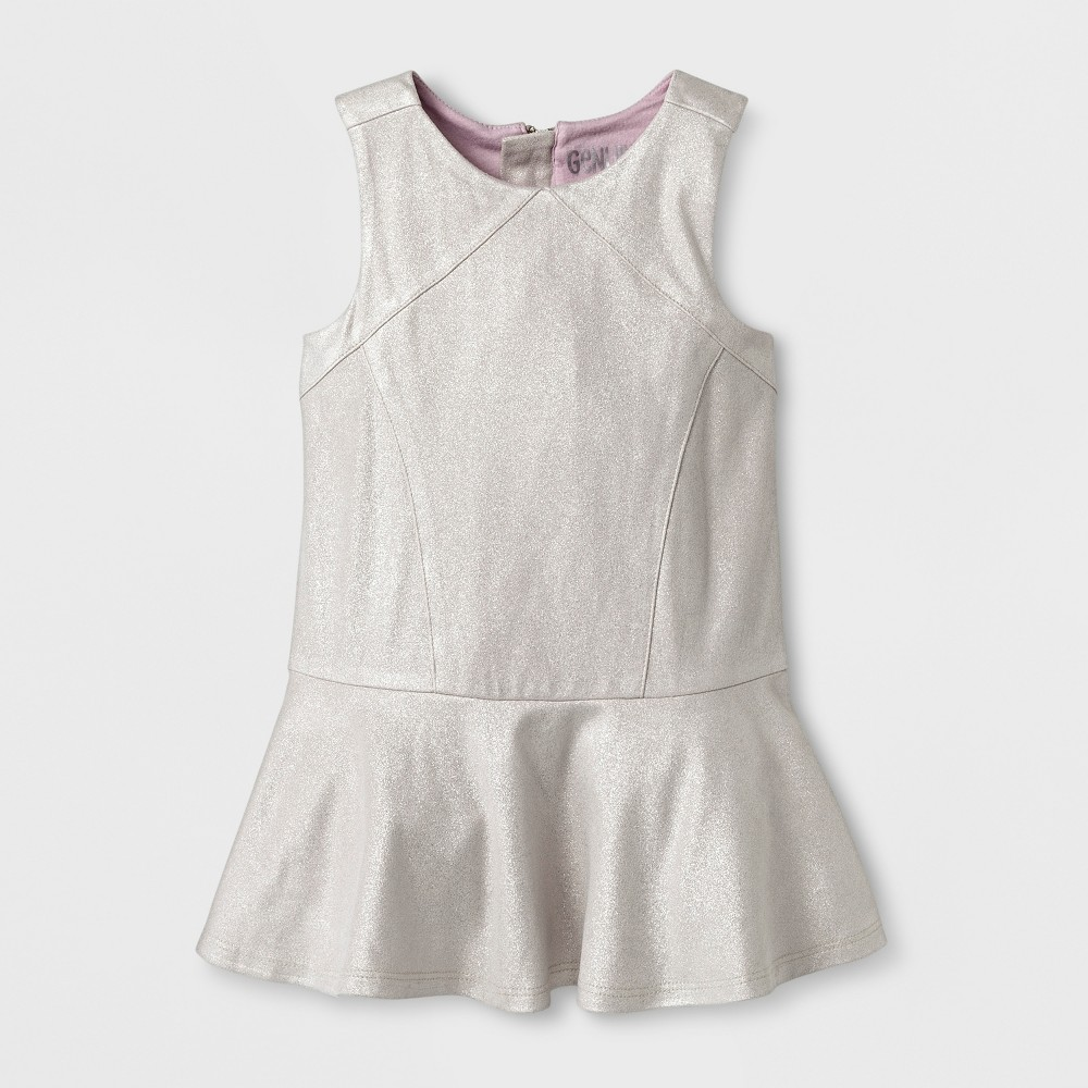 Toddler Girls Casual A Line Dress - Genuine Kids from OshKosh Silver Foil 18M, Size: 18 M, Gray