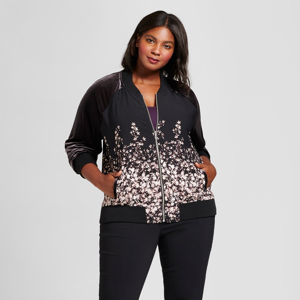 Womens Plus Size Floral Bomber Jacket - A New Day Black X