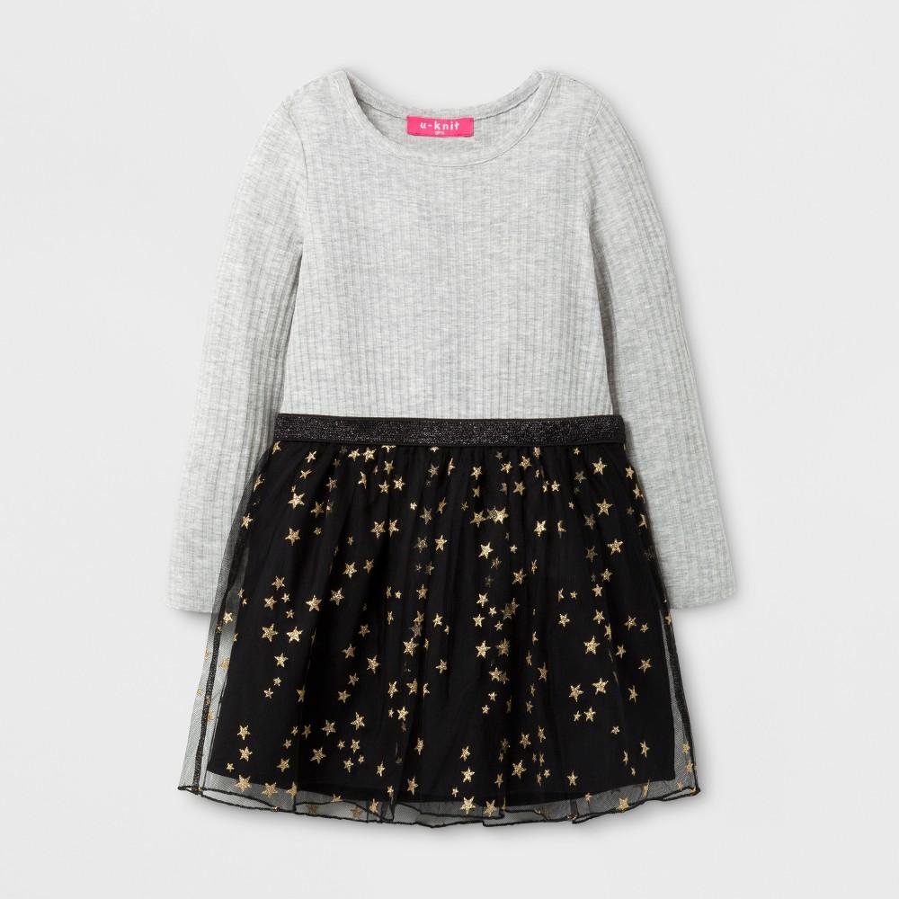 U-Knit Toddler Girls Long Sleeve A Line Dress - Gray 2T
