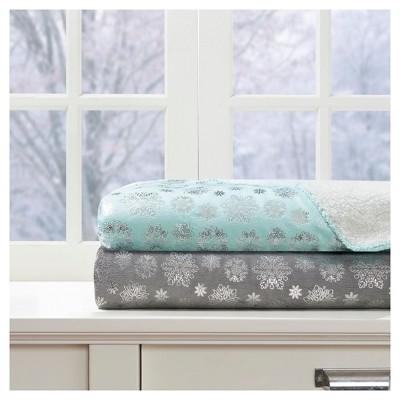 Gray Snowflakes Throw Blankets ( 50x60 )