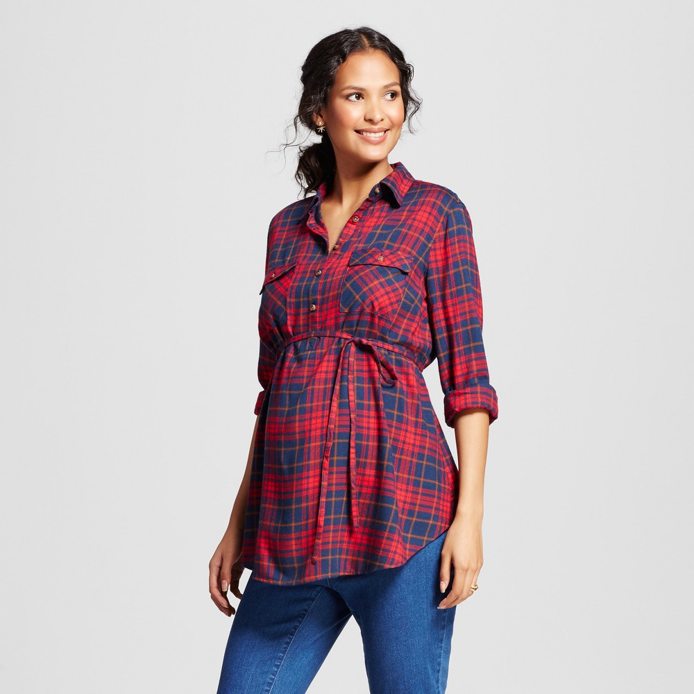 Maternity Plaid Flannel Popover Tunic - Isabel Maternity by Ingrid & Isabel Navy/Red XL, Blue