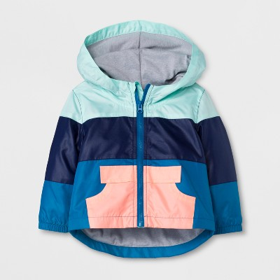 Baby Girls' Nylon Windbreaker with Hood - Cat & Jack™ Aqua/ Navy NB