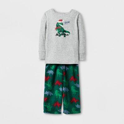 Toddler Boys' Dino Pajama Set - Cat & Jack™ Heather Gray 12M
