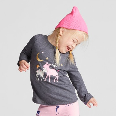 Toddler Girls' Long Sleeve Deer T-Shirt - Cat & Jack™ Dark Gray 3T