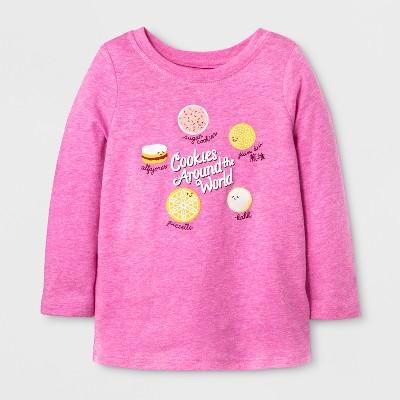 Toddler Girls' Long Sleeve World Cookies T-Shirt - Cat & Jack™ Pizzazz Pink 5T