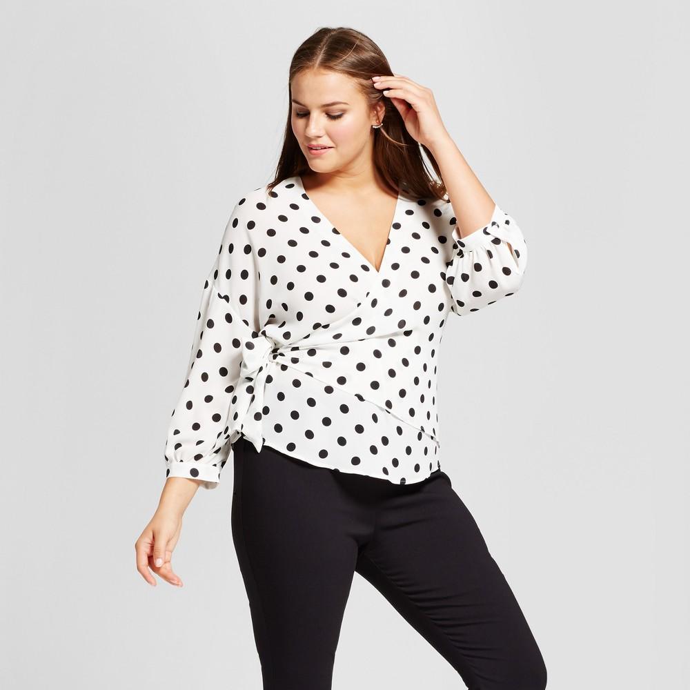 Womens Plus Size Faux Wrap Blouse - Who What Wear Black Polka Dot 4X