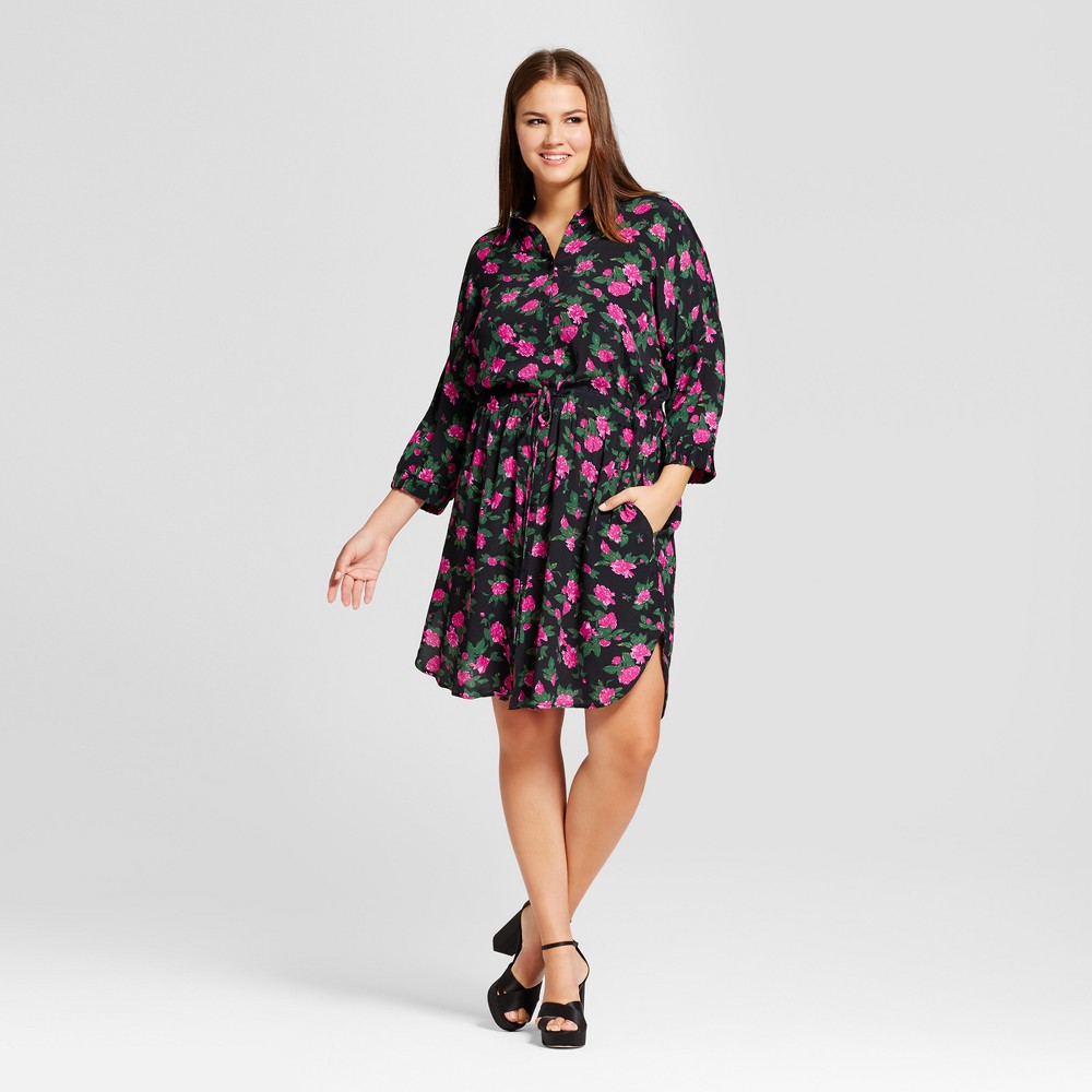 Womens Plus Size Tie Waist Shirtdress - Who What Wear Black Floral 2X