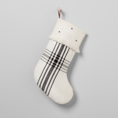 Plaid Holiday Stocking - White/Black - Hearth & Hand™ with Magnolia