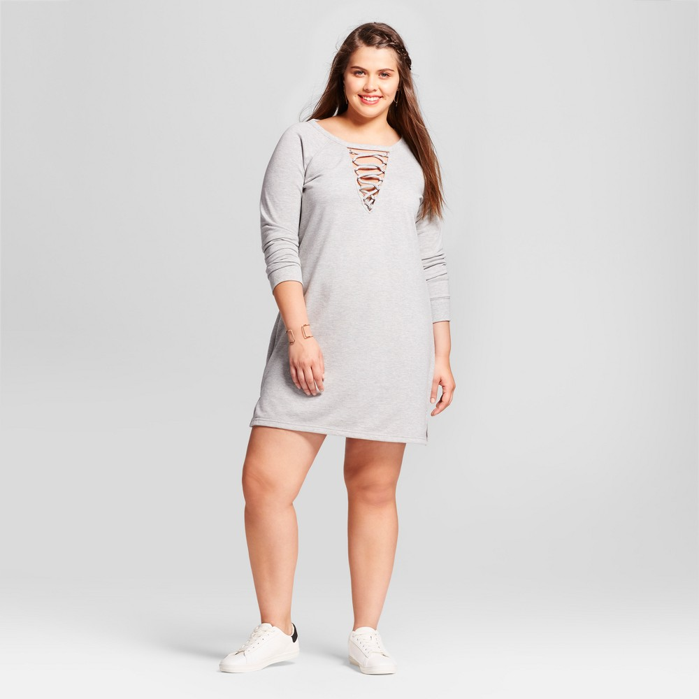 Womens Plus Size Lace Up French Terry Dress - Almost Famous (Juniors) Gray 3X