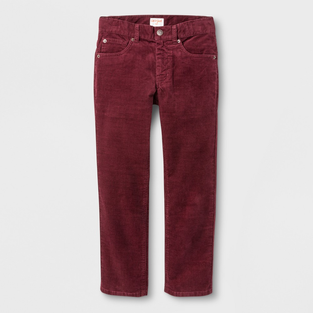 Boys 5-Pocket Chino Pants - Cat & Jack Cabernet Red 14 Husky
