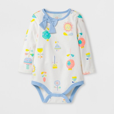 Baby Girls' Happy Floral Bodysuit - Cat & Jack™ White 12 M