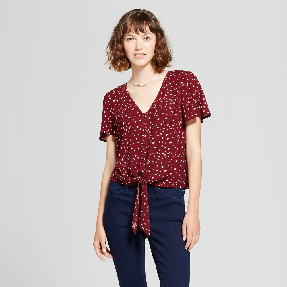 Womens Tie-Front Top - Mossimo Supply Co. Burgundy L, Red