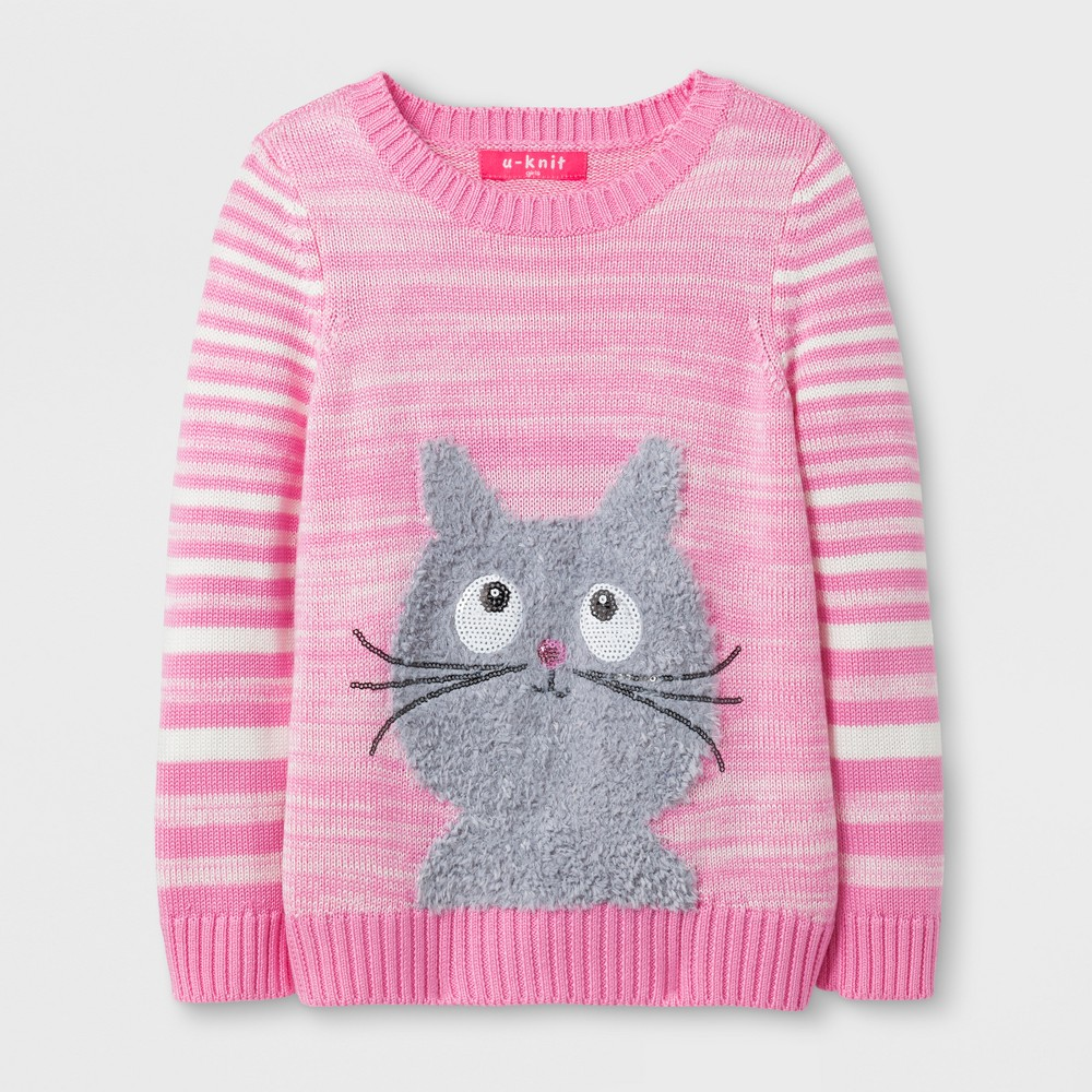 U-Knit Toddler Girls Cat Pullover Sweater - Pink 4T