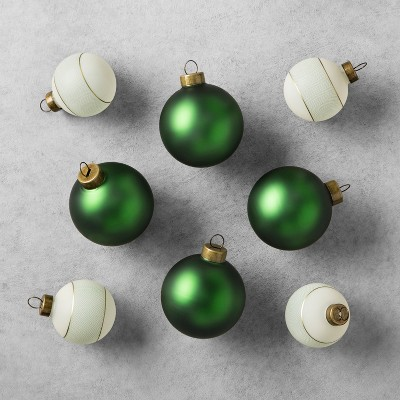 Ornament Set Solid/Herringbone (8pc)- Green - Hearth & Hand™ with Magnolia