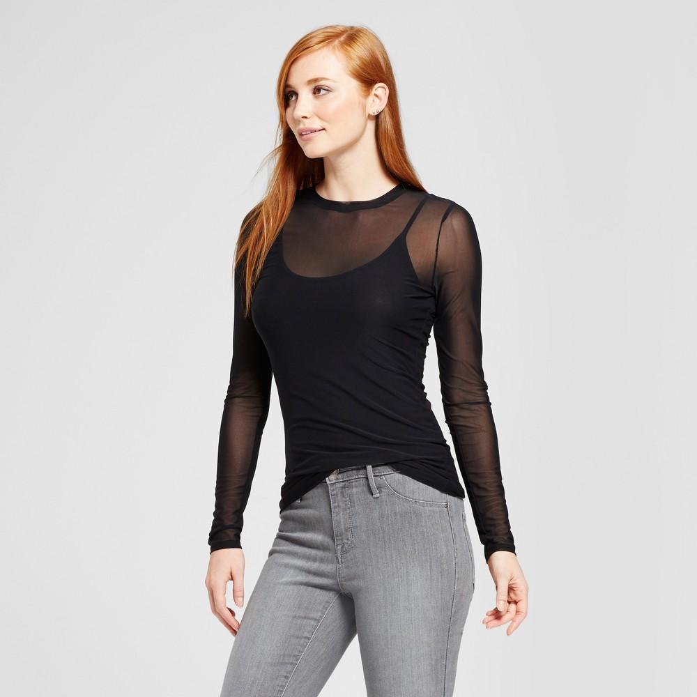 Womens Mesh Knit Long Sleeve T-Shirt - Mossimo Black M