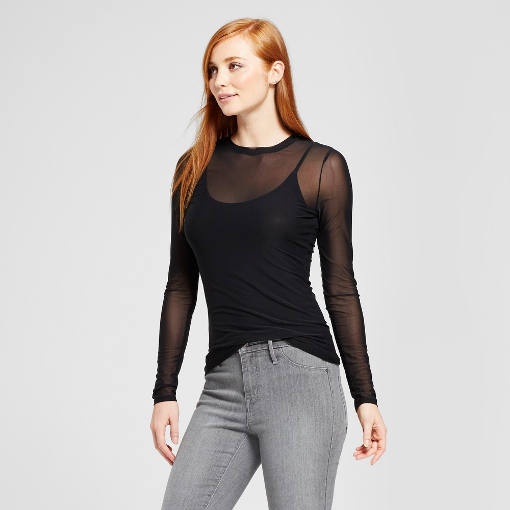 Womens Mesh Knit Long Sleeve T-Shirt - Mossimo Black XL