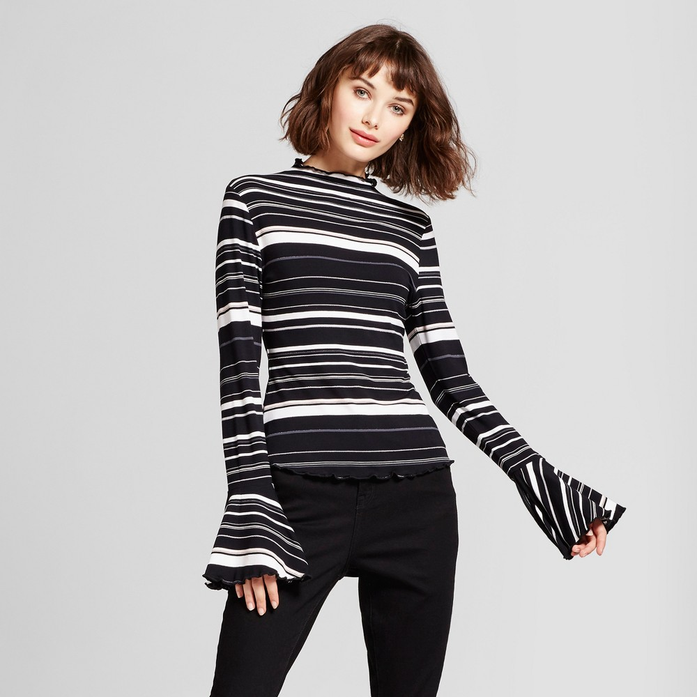 Womens Striped Bell Sleeve Mock Neck Long Sleeve T-Shirt - Mossimo S Black/White, Multicolored