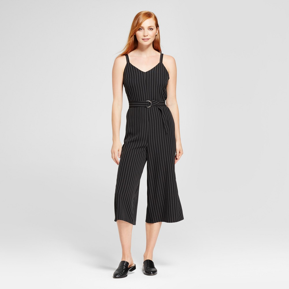 Womens Pinstripe Jumpsuit - Mossimo Black/White XL
