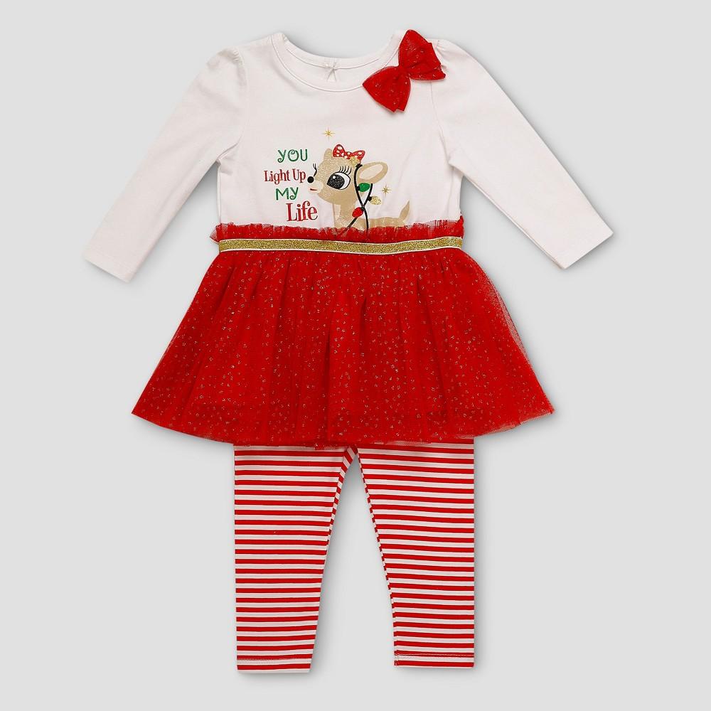 Baby Girls Rudolph Clarice Tutu & Leggings Set - White/Red 9M, Size: 9 M