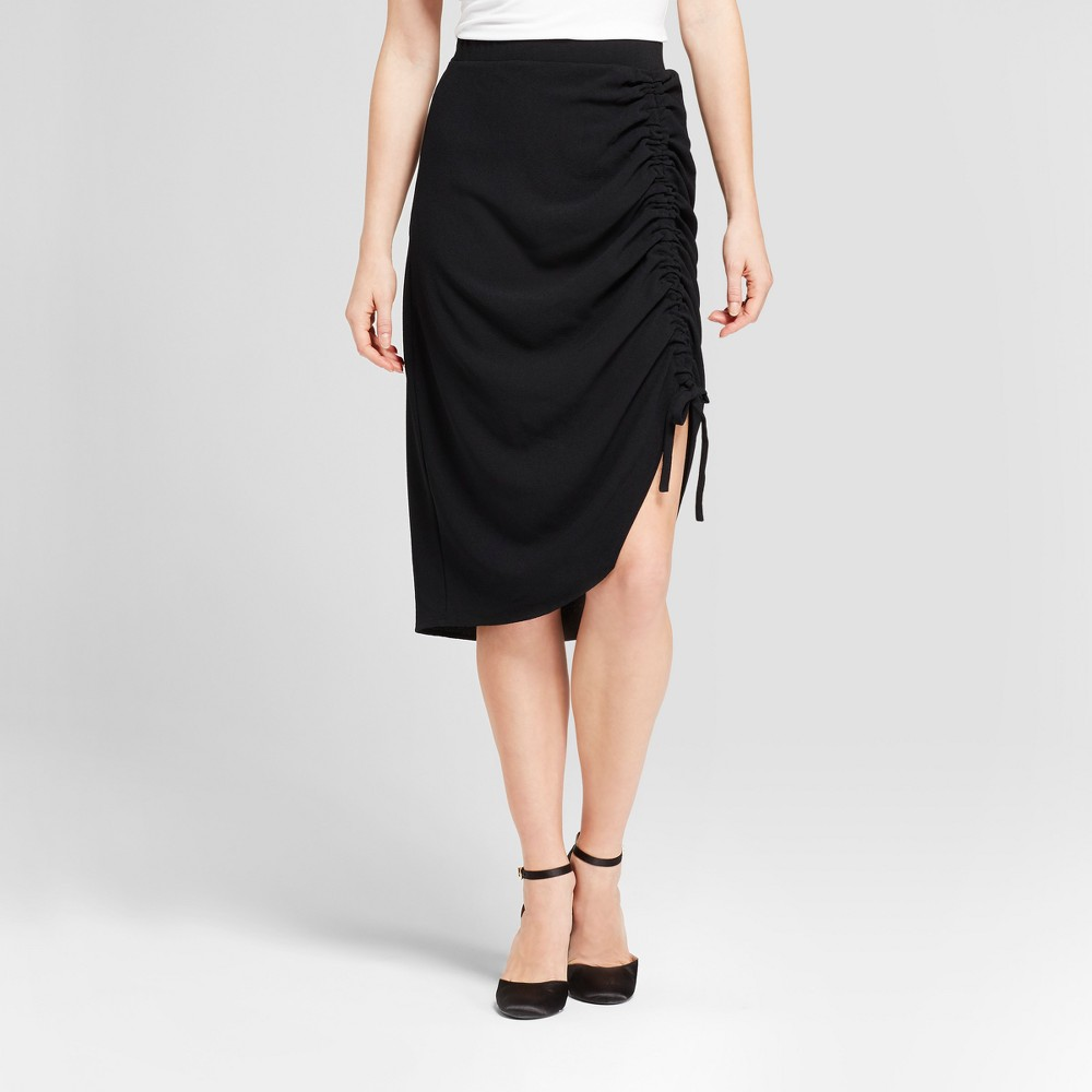 Womens Asymmetrical Drawstring Skirt - Mossimo Black 8