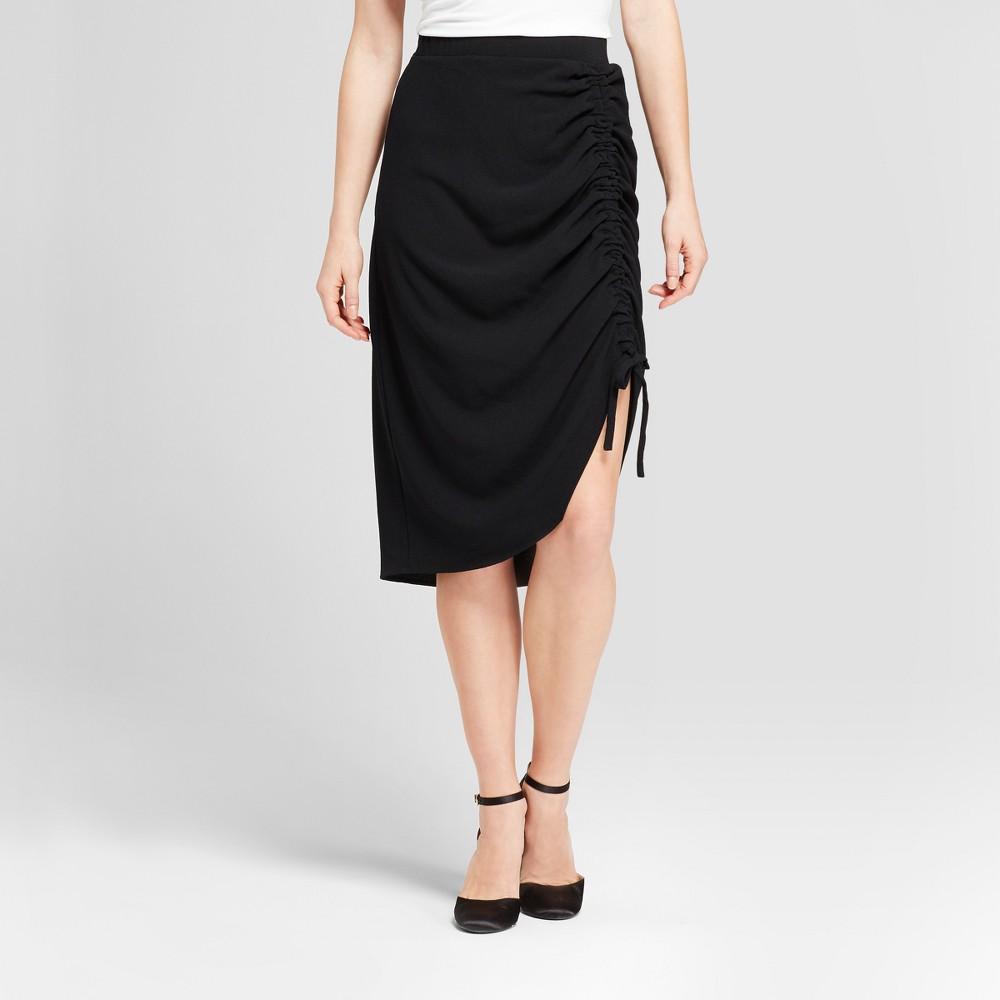 Womens Asymmetrical Drawstring Skirt - Mossimo Black 2