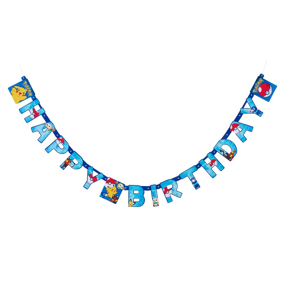 Pokemon Hinged Banner, Party Banner Find Party Supplies at Target.com! Set the stage for your Pokémon trainers when you decorate with the this Pokémon party banner! This birthday party banner features Pikachu, Rowlet, Litten and Popplio on colorful cardstock with letters spelling Happy Birthday. Measuring 7.59 ft. Long and with attached string, this birthday banner is easy to hang outside to bring attention to the event or inside to enhance party decor! Coordinate with other Pokémon party supplies for a fun celebration! Color: Multi-Colored. Pattern: Fictitious character.
