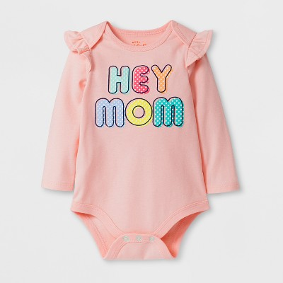 Baby Girls' Hey Mom Bodysuit - Cat & Jack™ Pink NB
