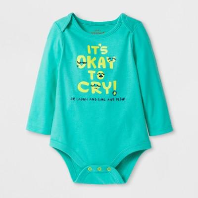 Baby Girls' It's Ok To Cry Bodysuit's - Cat & Jack™ Green 3-6 M